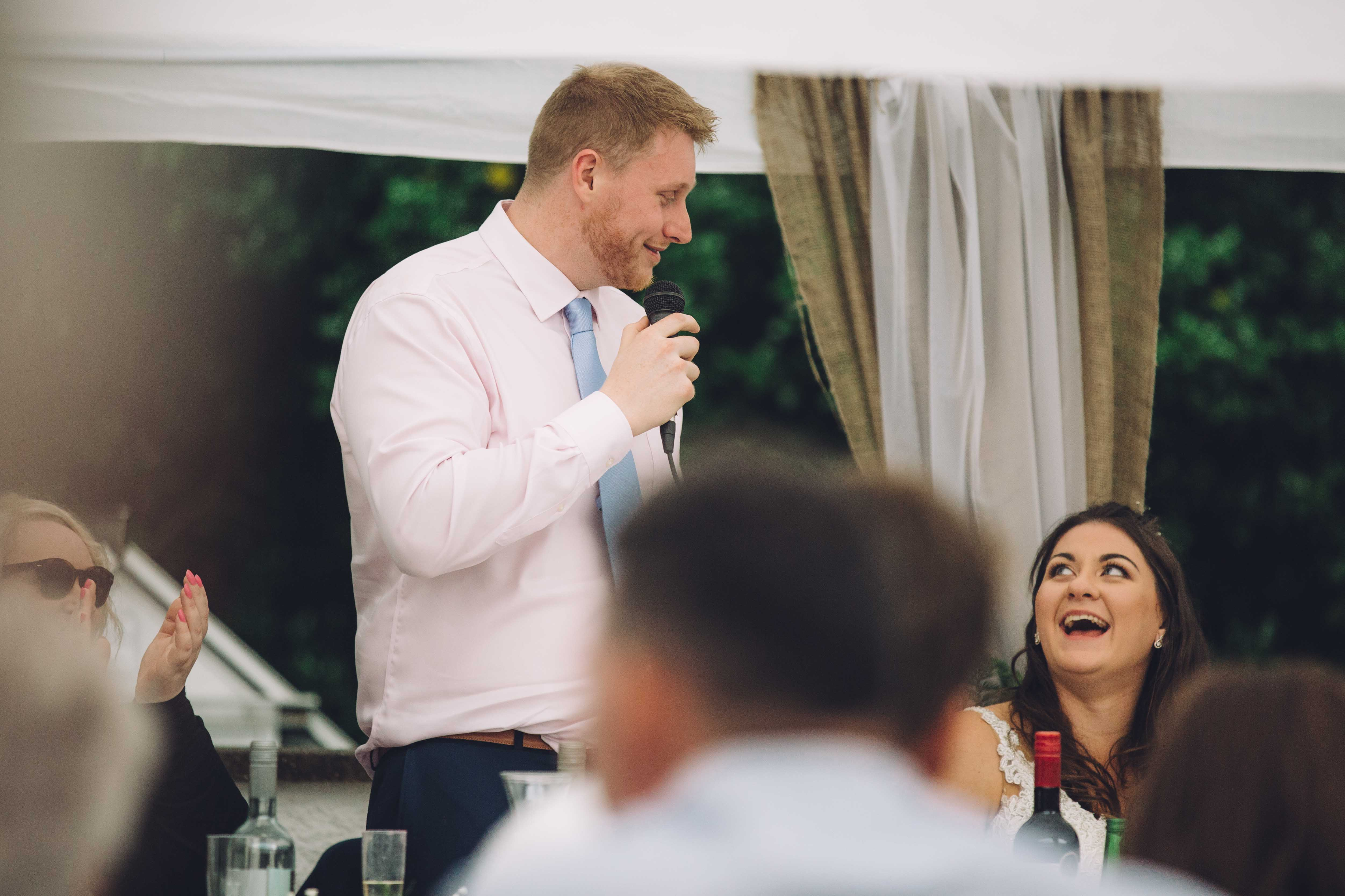 Groom at Birmingham Wedding gives his speech