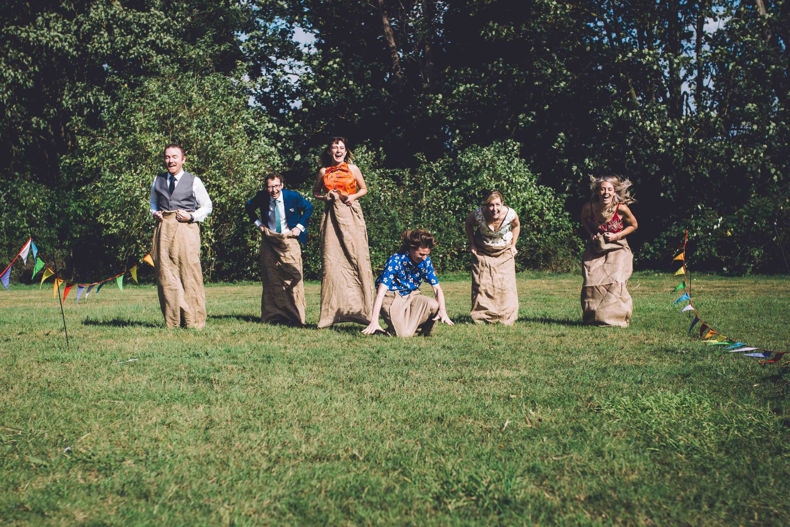 Sack race at letchworth garden city wedding